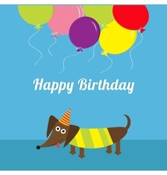 Dachshund dog Striped shirt Cute cartoon vector image vector image
