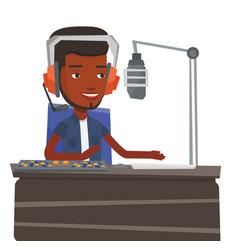 Dj working on the radio vector