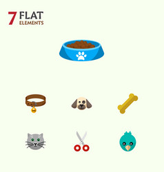 icon flat pets set of bird bone kitty food and vector image vector image