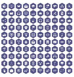 100 communication icons hexagon purple vector image