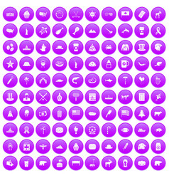 100 north america icons set purple vector image