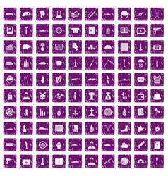 100 war crimes icons set grunge purple vector
