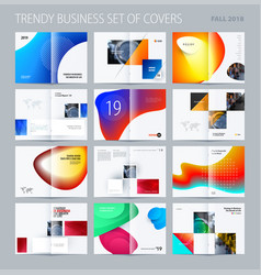 Abstract double-page brochure design fluid style vector