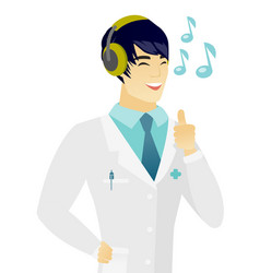 Asian doctor listening to music in headphones vector