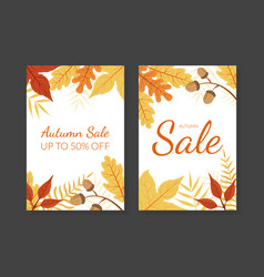 autumn sale card template with colorful leaves vector image