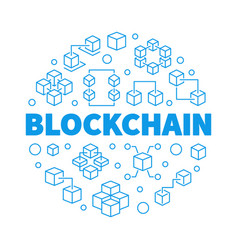blockchain blue round in thin vector image