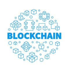 Blockchain blue round in thin vector