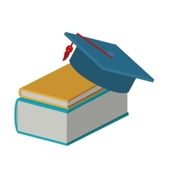 Books and graduation cap vector