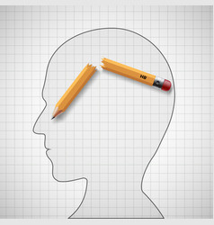 broken pencil in the human head nervous tension vector image