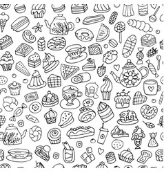Cakes and sweets seamless pattern for your design vector