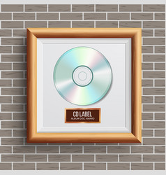 Cd disc award musical trophy realistic vector