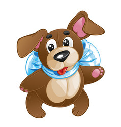 Children soft toy funny dog with a bow vector