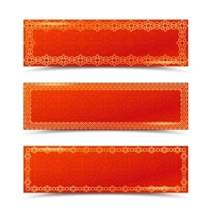 Chinese red horizontal banners with gold borders vector
