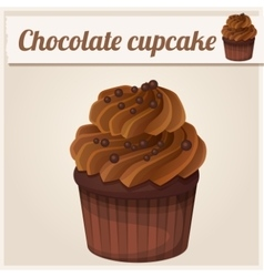 Chocolate cupcake Detailed Icon vector image