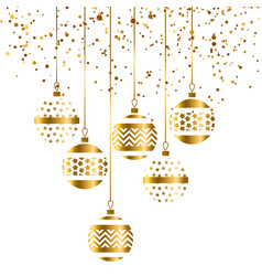 Christmas bauble decoration in gold color vector