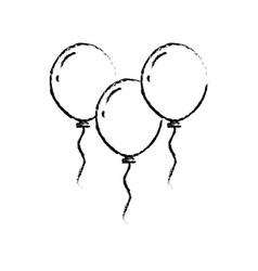 christmas three balloons flying decoration vector image