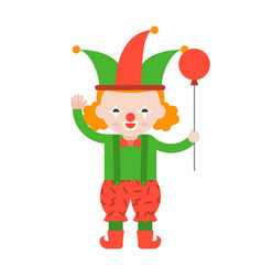clown or joker with balloon cute character flat vector image