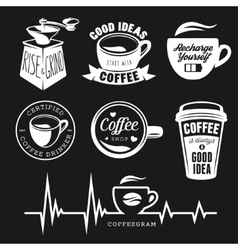 Coffee related posters labels badges and design vector