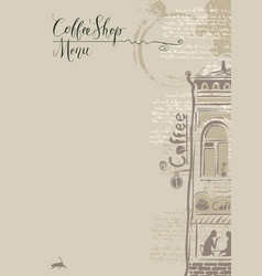 Coffee shop menu with old building vector