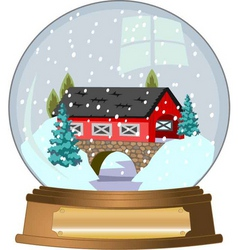 covered bridge snow globe vector image
