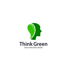 Creative head with leaf for brain and mind logo vector
