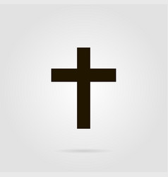 cross christian symbol with shadow on grey colored vector image