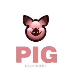 Cute cheerful pink pig vector