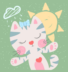 cute funny cat weather vector image