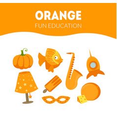 Different objects in orange color fun educational vector