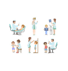 doctors doing medical examination kids set vector image