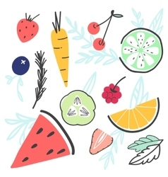 Doodle hand-drawn food set with various fruit and vector