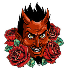evil face with red roses vector image