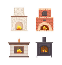 Fireplace with wooden shelf and vase on top set vector