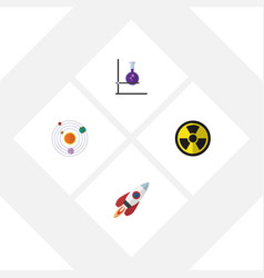 Flat icon study set of flask irradiation vector
