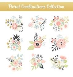 Floral combinations hand drawn vintage set vector