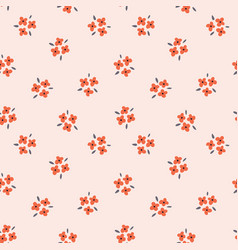 Floral seamless pattern with red flowers on pink vector