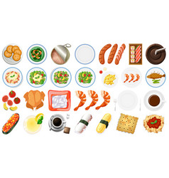 food collection on white background vector image