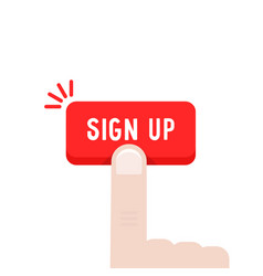 Forefinger press on sign up button vector