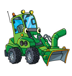 Funny small snowthrower car with eyes and mouth vector