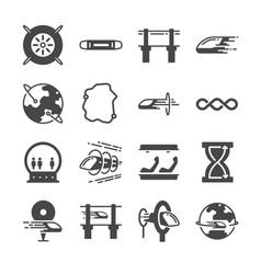 futuristic transportation line icon set vector image