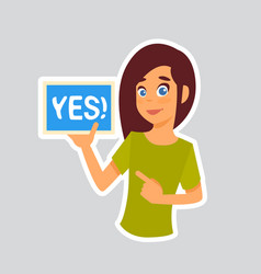 girl says yes sticker for messenger label icon vector image