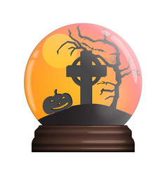 Glass bowl with halloween scene vector