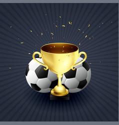 golden trophy cup football winner celebration vector image