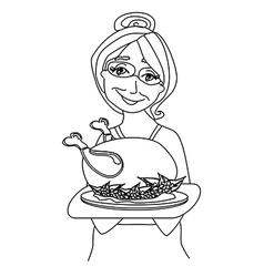 Grandmother serving chicken vector