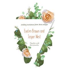 greeting card with roses waxy flowers and vector image