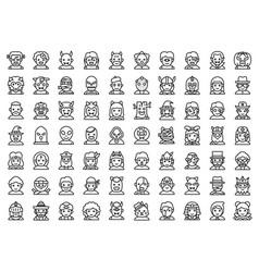 Halloween avatar line icon set costume vector