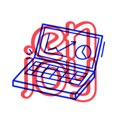 hand draw job computer icon in doodle style vector image