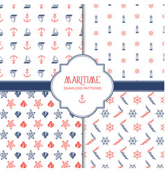 hand drawn marine seamless patterns set vector image