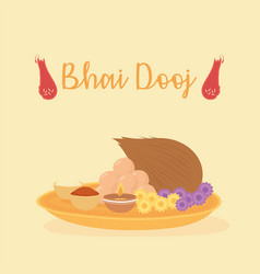Happy bhai dooj food for festival celebrated by vector