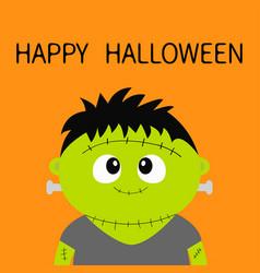 Happy halloween frankenstein monster cute cartoon vector
